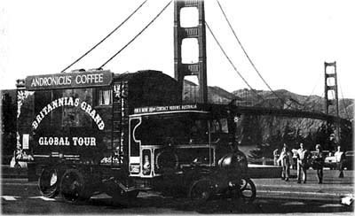 Britannia at another famous landmark - the Golden Gate Bridge in San Francisco, in 1970.