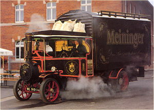 Foden steam wagon 'Britannia' on commercial duty advertising a beer company.