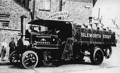 A typical Foden 5 Ton wagon of about 1920, emplyed by a Brewery to haul casks of Ale.