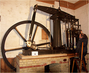 The magnificent 1870's Thomas Horn beam engine with Michael Cates driving.