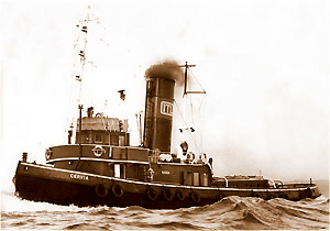 The steam tug 'Cervia' when in commcercial use in the 1970's.