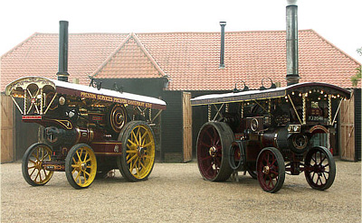 Showmans engines on display in the barn yard.