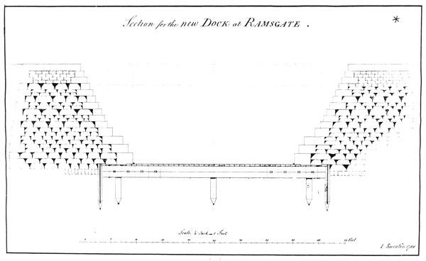 A sectional drawing showing Smeaton's design for the Ramsgate DryDock