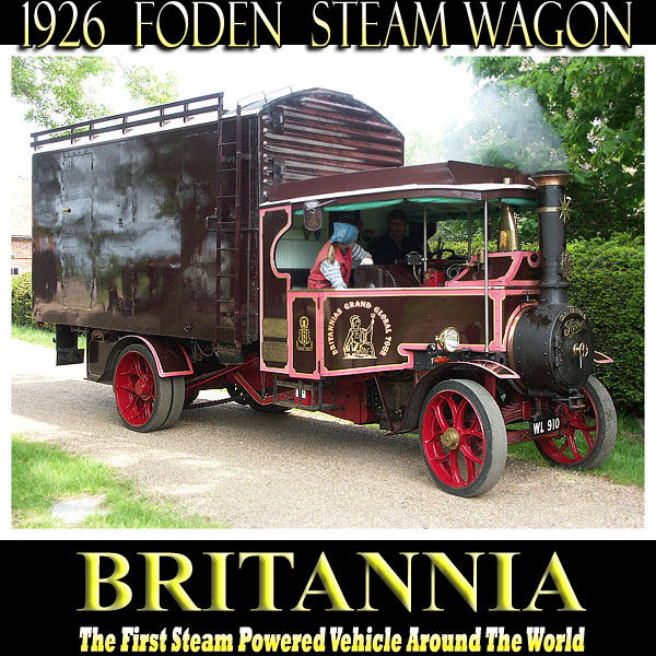 Foden steam wagon Britannia gets underway for the journey to a local steam rally.